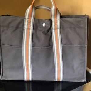 Hermès GM fourre tout gray and orange